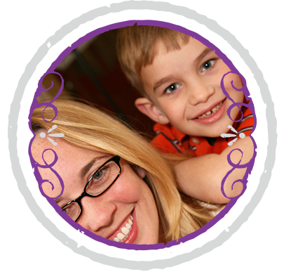 Picture of a blonde mother with glasses and her child